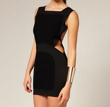 AQ/AQ Spade Faux Leather Boiled Wool Panel CutOut Bodycon Party Dress 14 42 £115