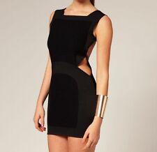 AQ/AQ Spade in finta pelle lana cotta PANNELLO Ritaglio Bodycon Party Dress 14 42 £ 115