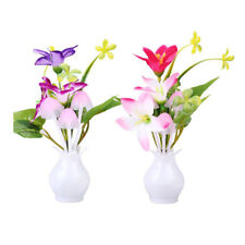 2 PCS Kids Wall Light Lamp Color Changing Plug In LED Flower Night Light P7Y4