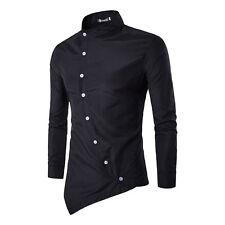 Mens Luxury Casual Formal Grandad Collar Long Sleeve Shirt Stylish Irregular Top