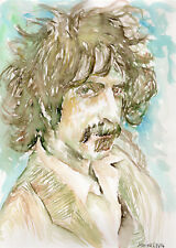 FRANK ZAPPA - Original Watercolor Portrait Painting by Marina Sotiriou