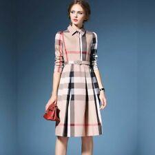 Beige  Button Down Collar  Checkered midi Dress