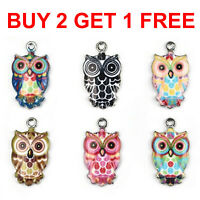 6pcs Mixed Color Enamel Owl Charms DIY Crafts Necklace Jewelry Making Pendants