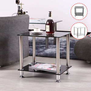 2 Tier Coffee Table Console Table Bottom Shelf Storage Modern Living Room Table