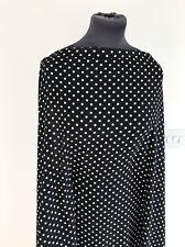 Black/White Retro Small Polka Dot Light Weight Stretch Crepe Dressmaking Fabric