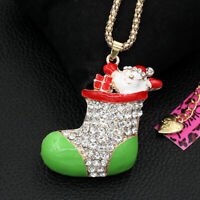 Betsey Johnson Enamel Crystal Christmas Sock Pendant Sweater Chain Necklace Gift