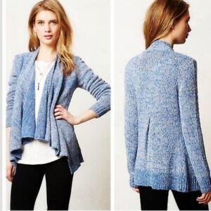 Moth Anthropologie Winnie Blue Marled Open Front Cardigan Sweater Size XS Wool