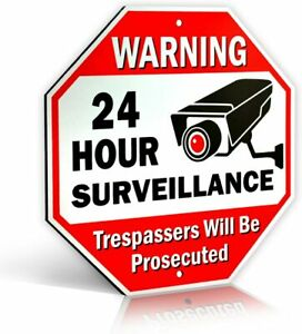 24-Hour Video Surveillance No Trespassing Metal Warning Sign for Home & Business