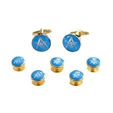 Azul & Oro Esmaltado Gemelos Insignia Masónica con G & 5 Botón Tacha Set