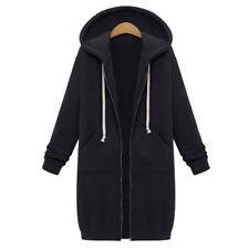 Women Fashion Zipper Open Hoodie Sweatshirt Long Coat Jacket Top Outwear Vertvie