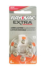 60 Rayovac Hearing Aid Batteries Size 13 + Free Keychain/2 Extra Batteries