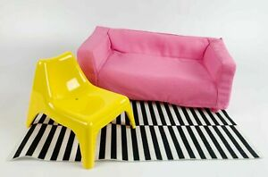 IKEA Dollhouse Furnitures Carpet Couch Chair Modern