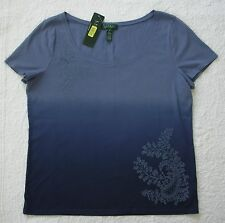 NWT Ralph Lauren Short Sleeve Blue Ombre Embroidered Knit Top Size XL