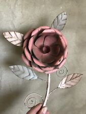 Vintage METAL TOLE Rose Flower TABLETOP CANDLE HOLDER Painted Chippy Pink Green