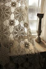 Vintage French lace crochet old bed cover coverlet off-white cotton 93X80 fringe