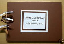 Personalised Brown Matt Design*Any Age Birthday*Celebration*Photo*Guest*Book