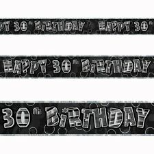 12ft Happy 30th Birthday Black Sparkle Prismatic Party Foil Banner Decoration