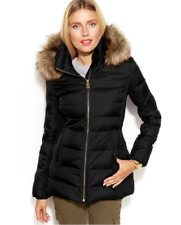 $190 MICHAEL KORS DOWN FILL PUFFER QUILTED BLACK COAT FAUX FUR HOODIE JACKET XL