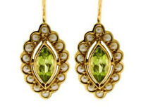 E243 Genuine 9ct Yellow Gold NATURAL Peridot & Pearl Cluster Drop Earrings