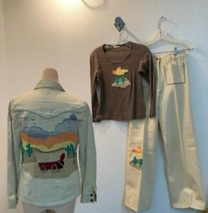 vintage 70s retro 3 piece embroidered pants set with matching shirt size 8