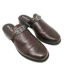 Minnetonka 6052 Brown Leather Croc Embossed Cap Toe Mule Clogs Womens Size 9.5