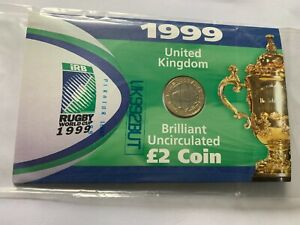 New & Sealed Royal Mint 1999 Rugby World Cup in England £2 Coin (BU UNC) in Pack