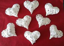 8 weiße Herzen gewickelt mit Papierband Herz in Herzform 6x8cm Hochzeit