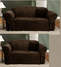 2 Piece Soft MicroSuede Couch Sofa Loveseat Slip Cover at Linen Plus