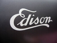 For EDISON Cylinder Phonograph Cabinet decal BRUSHED CHROME Silver wide 6 inch