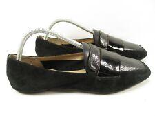 Enzo Angiolini Womens 9 Black LEANN Leather Closed Toe Flat Loafers Casual