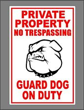 Metal Guard Dog On Duty Sign Private Property No Trespassing Bulldog Head New