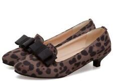 Ladies Kitten Heel Leopard Bowknot Slip on Pumps Pointed Toe Pumps Formal Shoes
