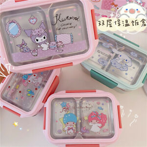 Cute My Melody Kuromi Cinnamoroll Double Layer Lunch Box Thermal  Food Container