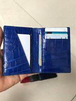 Crocodile Leather Credit Card Holder DOUBLE SIDE Genuine Alligator BLUE / BLUE