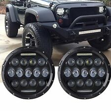 Pair 7inch Round LED Headlight Driving Lamp Hi/Lo Beam Harley Jeep SUV ATV 4WD