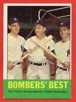 1963 Topps #173 Bomber's Best EX-EX Mickey Mantle Tom Tresh New York Yankees