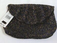 """Mar Y Sol Clutch purse navy blue hand-woven straw summer bag 10""""X7"""" New (B1)"""