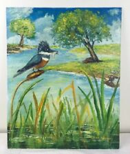 16 x 20 Oil Painting Kingfisher Bird w Fish Stream Cattails Trees Clouds signed