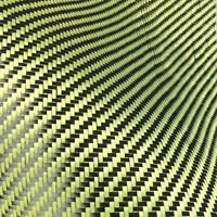 Carbon Aramid Fiber Hybrid Fabric Plain Woven I-shaped Square Yellow DIY Sewing