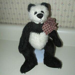 """OOAK Cupboard Bears by Elizabeth Lloyd Black & White German Mohair Bear 11"""" EUC"""