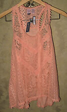 Love On A Hanger Women's Crochet Top Blouse Sleeveless Coral Peach Size S NWT