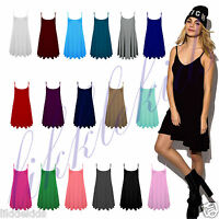 Womens Ladies Cami Floaty Flared Strappy Summer Skater Top Dress plus Size 8-26