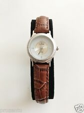Estrela Damenuhr aus rhodiniertem 925er Sterlingsilber Damen Uhr Lederarmband