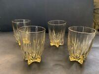 Federal Glass Flat Tumbler STAR Pattern ( 4 )Amber yellow Glasses 8 OZ VTG RARE