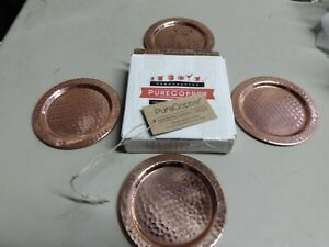Purecopper Solid Copper Coasters Handcrafted Hammered Set of 4 Mugs