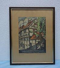 Kolorierter Linol Handdruck, Linoldruck -  Bielefeld am Waldhof - monogr.,