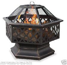Fire Bowl Pit Outdoor UniFlame Hex Shaped Lattice Oil Rubbed Bronze Steel Patio