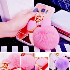 Soft Glitter Bling Plush Mirror Pom Pom Ball Back Case Cover For iPhone Samsung