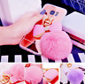 Soft Glitter Bling Plush Mirror Pom Pom Ball Back Case Cover For iPhone Samsung