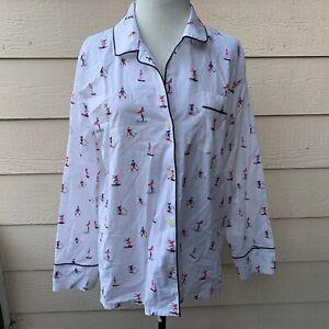 J Crew Poplin Sleep Shirt Skier Women Long Sleeve Pajama Top Pajamas PJs M